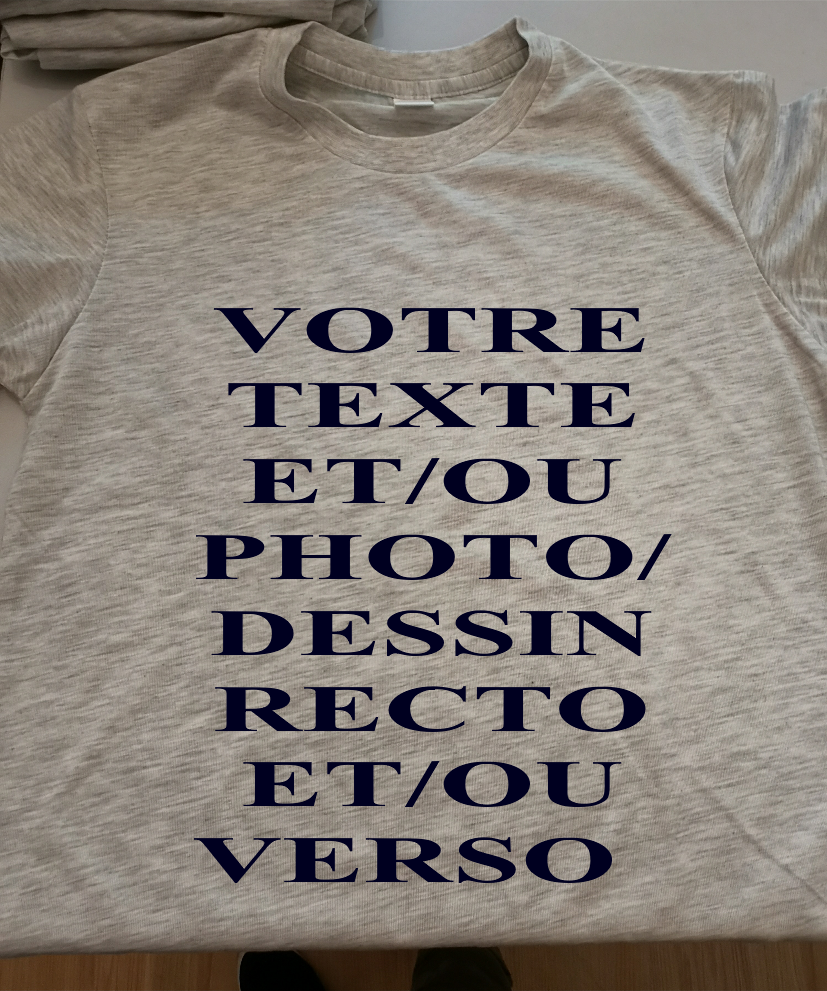 TEE SHIRT MIXTE GRIS